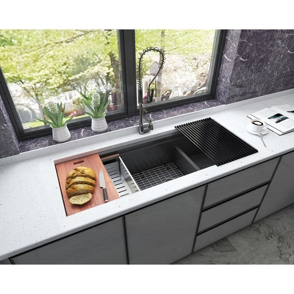 Black Stainless Steel Double Bowl Kitchen Sink And Accessories On Sale Overstock 29303247