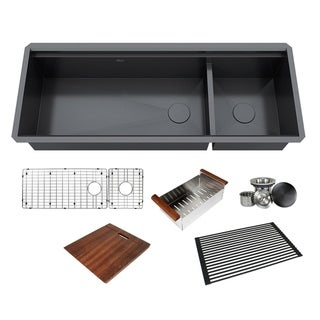 Link to 48 in. Stainless Steel Black ALL-IN-ONE Workstation 16-Gauge Undermount Double Bowl Kitchen Sink Build-in Ledge and Accessories Similar Items in Sinks