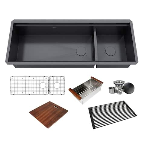 48 in. Stainless Steel Black ALL-IN-ONE Workstation 16-Gauge Undermount Double Bowl Kitchen Sink Build-in Ledge and Accessories