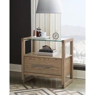 Tenley Grey Oak 1-drawer Nightstand with Glass Top