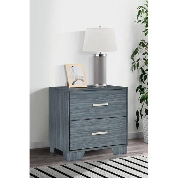 Trina Dark Grey Oak 2-drawer Nightstand