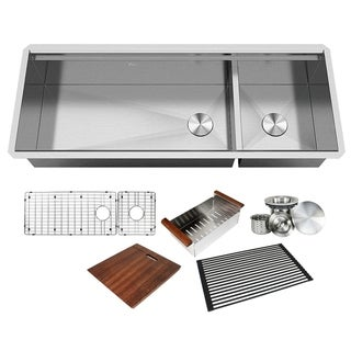 Link to 48 in. Stainless Steel  ALL-IN-ONE Workstation 16-Gauge Undermount Double Bowl Kitchen Sink w/ Build-in Ledge and Accessories Similar Items in Sinks