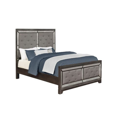 Peabody Caviar and Grey Tufted Upholstered Bed