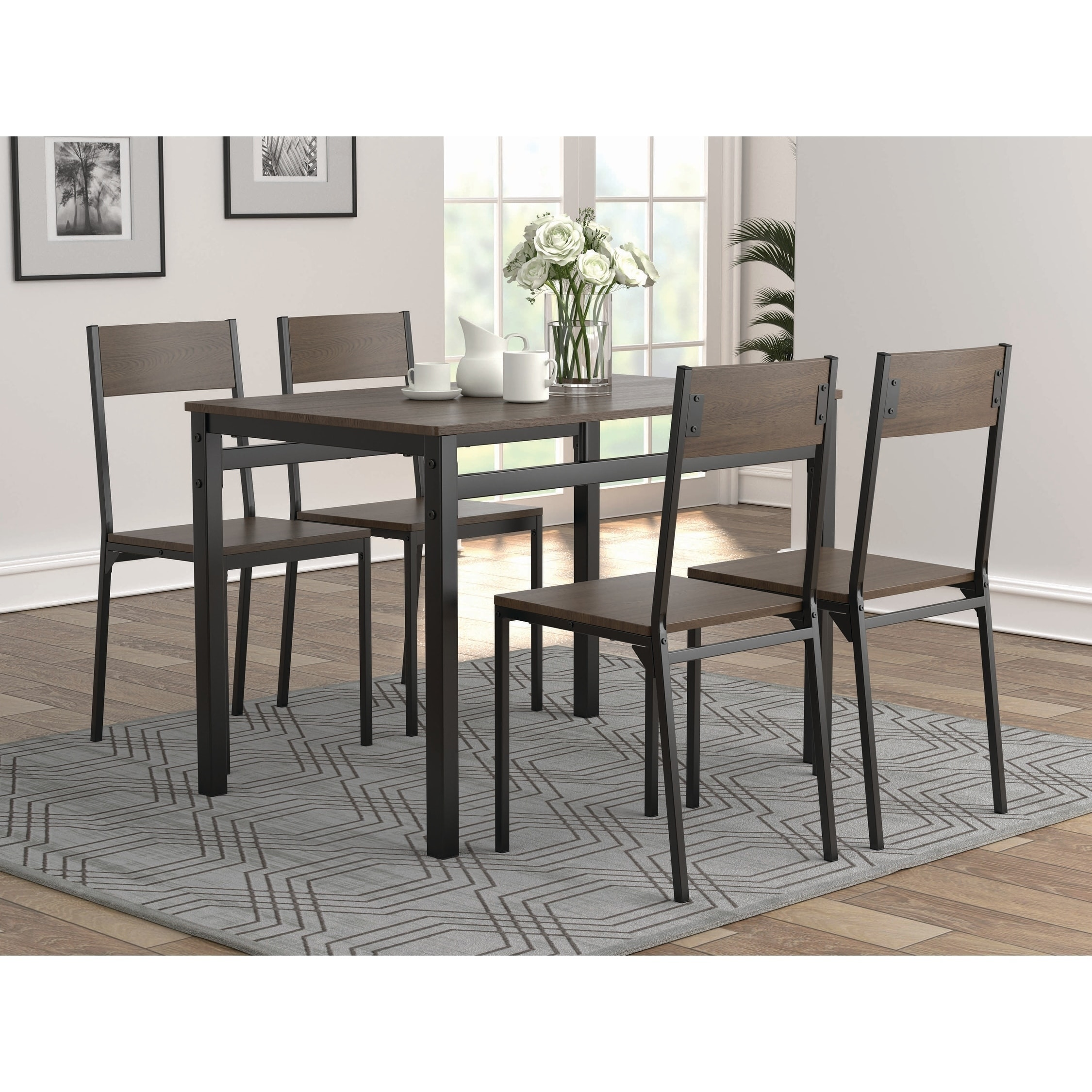 Picture of: Brendan Dark Brown And Black Dining Table Set On Sale Overstock 29303332