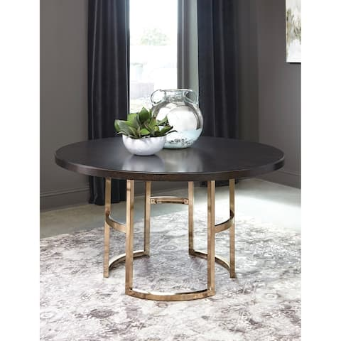 Inez Americano and Rose Brass Round Dining Table