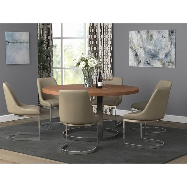 Harlan Natural Cherry and Chrome Round Dining Table. Opens flyout.