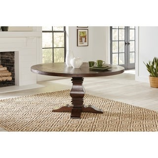Amesbury Rustic Brown Round Dining Table