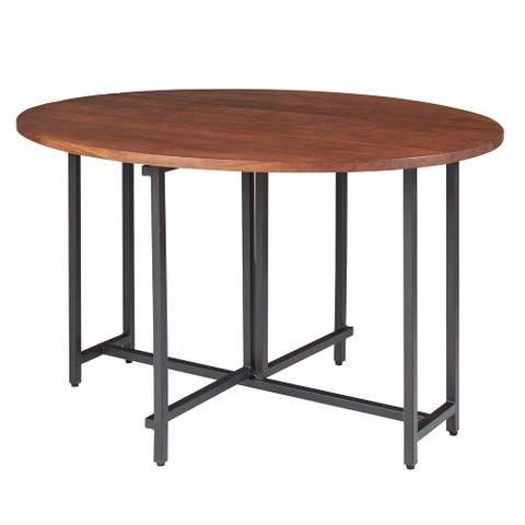 Sylvana Warm Brown and Black Oval Dining Table