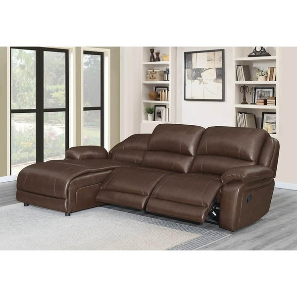 Francesca Chestnut Upholstered Motion Sectional with 3 Reclining Seats