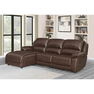 Francesca Chestnut Upholstered Motion Sectional with 2 Reclining Seats