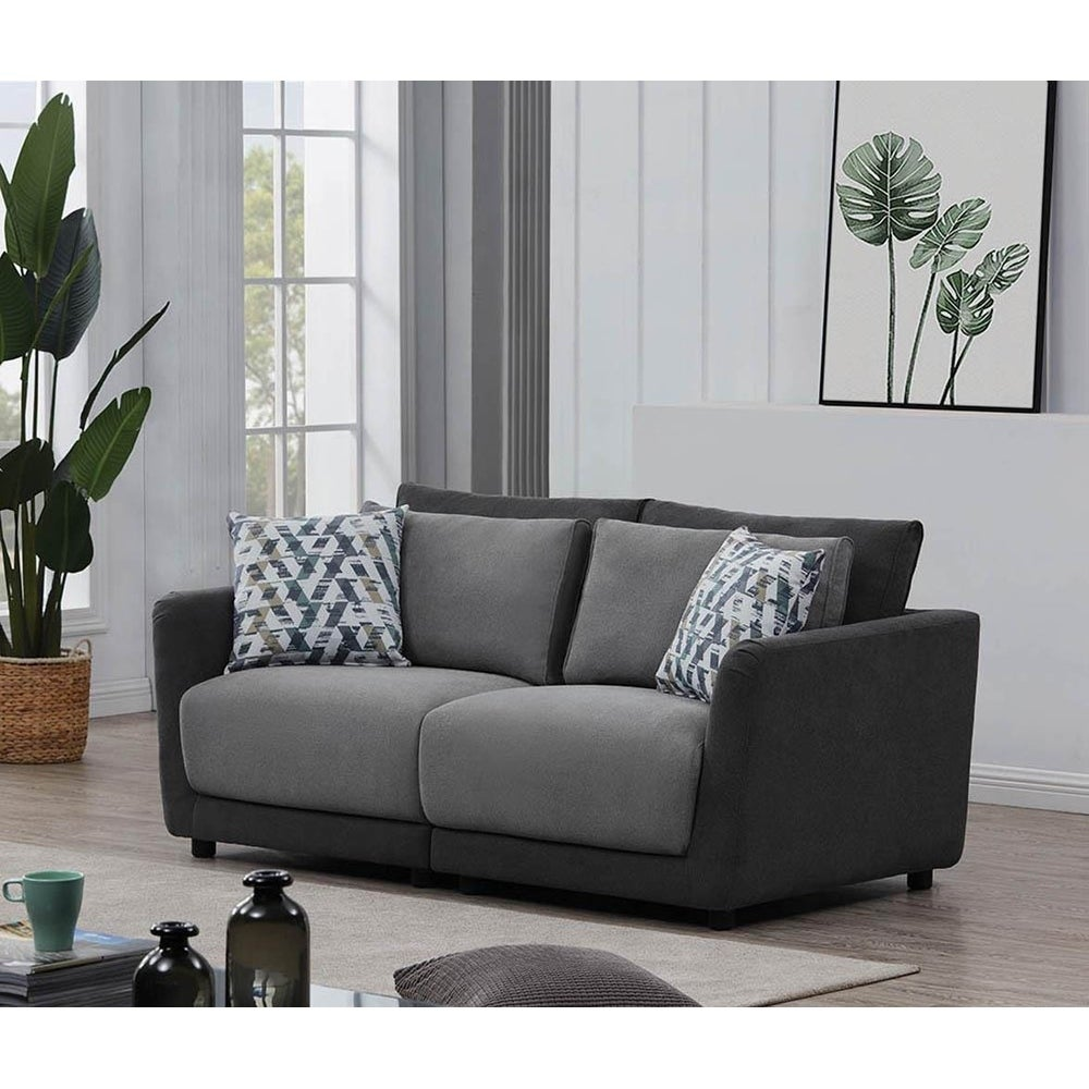 Wondrous Tobias Light Grey And Dark Grey Right Arm Facing Chair Short Links Chair Design For Home Short Linksinfo