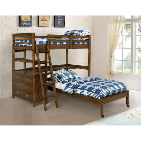 Tate Golden Brown Twin/Twin Workstation Loft Bed