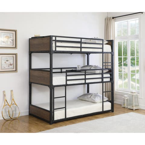Josephine Rustic Brown and Matte Black Triple Twin Bunk Bed