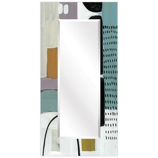 """Abstract Rectangular Beveled Wall Mirror on Free Floating Printed Tempered Glass - 36"""" x 72"""""""