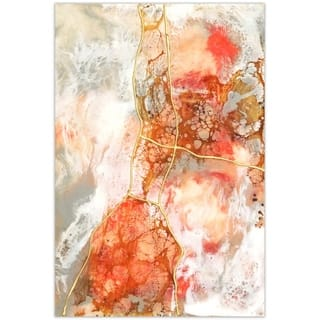 Coral Abstract Wall Art Printed on Frameless Free Floating Tempered Glass Panel