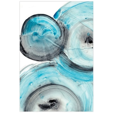 Blue Circles Abstract Wall Art Printed on Frameless Free Floating Tempered Glass