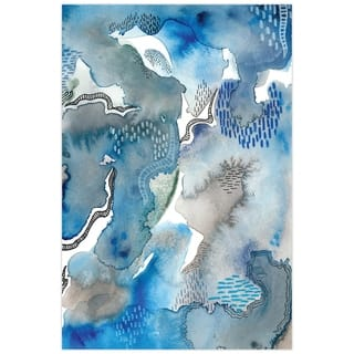 Blue Abstract Wall Art Printed on Frameless Free Floating Tempered Glass Panel