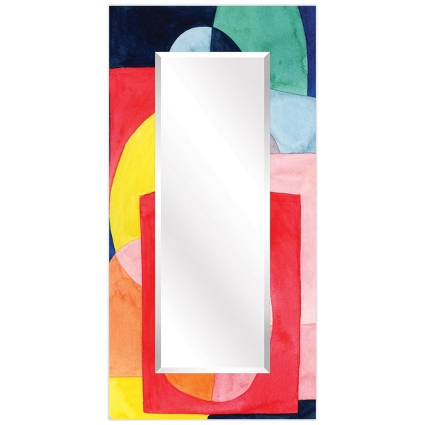 """Launder Rectangular Beveled Wall Mirror on Free Floating Printed Tempered Glass - 36"""" x 72"""""""