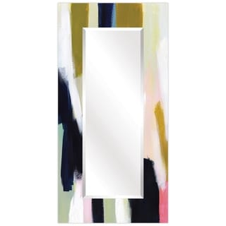 """Sunder Rectangular Beveled Wall Mirror on Free Floating Printed Tempered Glass - 36"""" x 72"""""""