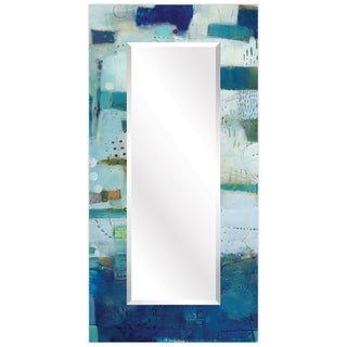 """Crore Rectangular Beveled Wall Mirror on Free Floating Printed Tempered Glass - 36"""" x 72"""""""