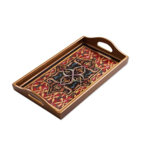 Handmade Floral Connection Reverse Painted Glass Tray (Peru)