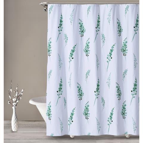 Porch & Den Crossvine White/Green Shower Curtain