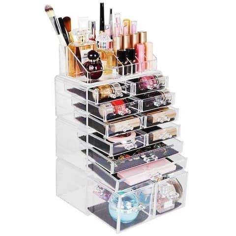 4Pcs/Set Acrylic Jewelry & Cosmetic Storage Display Boxes Makeup Organizer