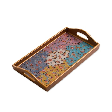 Handmade Margarita Joy Reverse Painted Glass Tray (Peru)