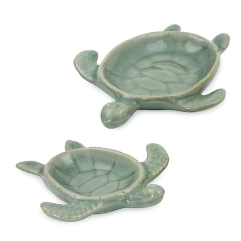 Handmade Aqua Thai Turtles Celadon Ceramic Bowls, Set of 2 (Thailand)