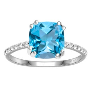 Sterling Silver With Natural London Blue Topaz And White Zircon Ring
