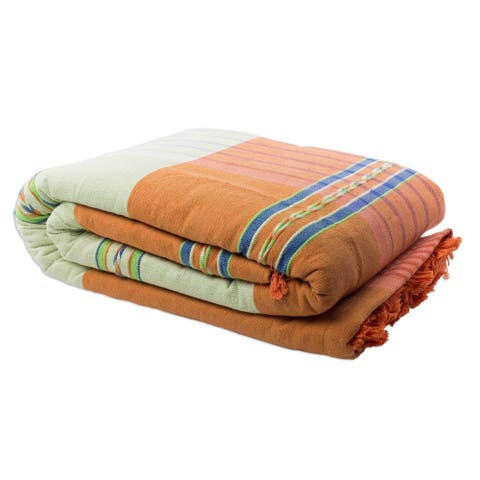 Handmade Oaxaca Dawn Zapotec Cotton California King Bedspread (Mexico)