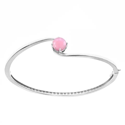 Sterling Silver with Natural Pink Opal Solitaire Bangle Bracelet-8""