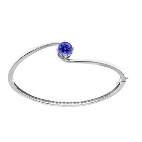 """Sterling Silver with Natural Tanzanite Solitaire Bangle Bracelet-7.25"""""""