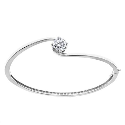 Sterling Silver with Natural White Topaz Solitaire Bangle Bracelet-6.5''