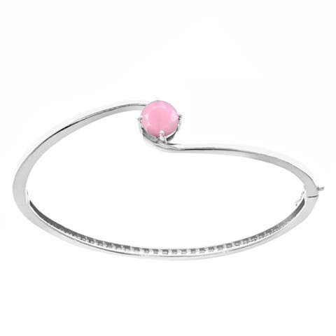 """Sterling Silver with Natural Pink Opal Solitaire Bangle Bracelet-7.25"""""""