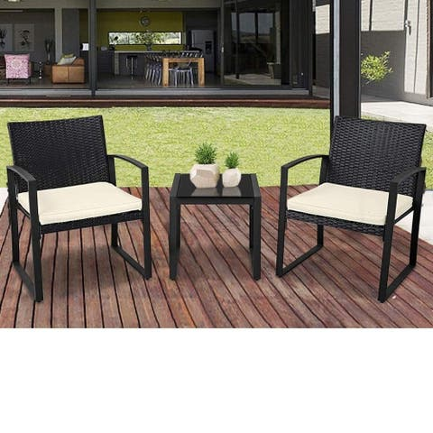 Suncrown Outdoor 3-Piece Wicker Bistro Set W/ Metal Armrest