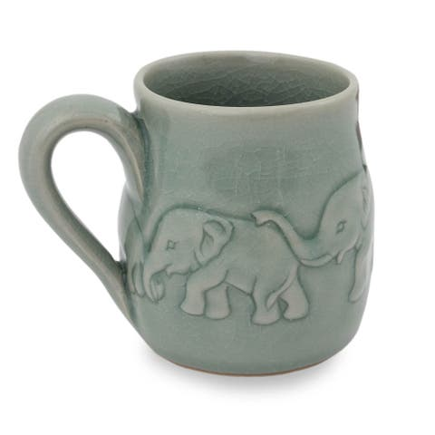 Handmade Light Blue Elephant Parade Celadon Ceramic Mug (Thailand)