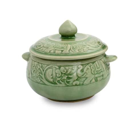 Handmade Green Elephant Forest Celadon Ceramic Covered Bowl (Thailand)