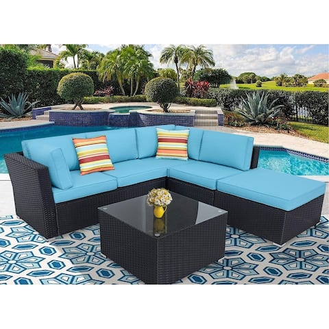 Incbruce Outdoor 4-Piece Black Wicker Sectional Sofa Set