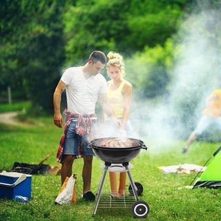 Zokop 18 Inch Portable Camping or Tailgating Grill Charcoal Stove Side Wheel