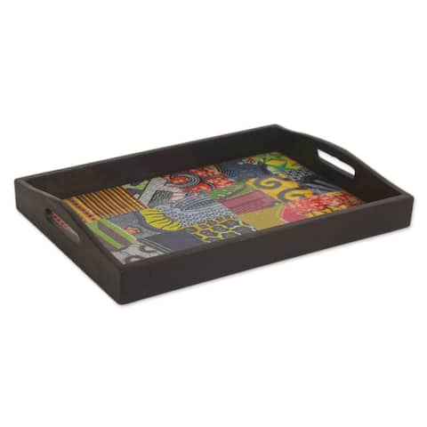 Handmade Colors of Africa Wood and Cotton Tray (Ghana)
