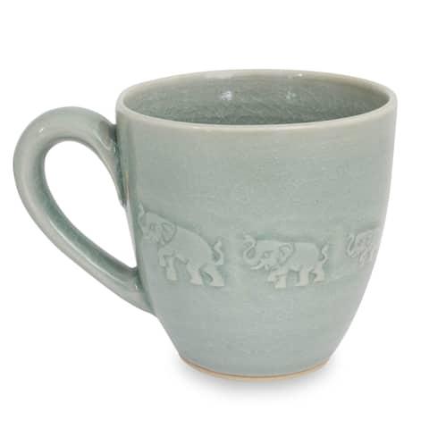 Handmade Blue Elephant Walk Celadon Ceramic Mug (Thailand)