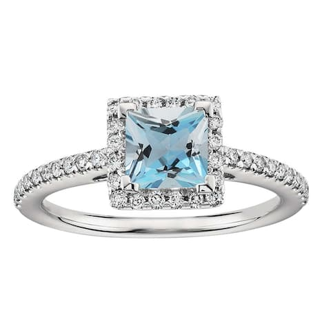 Sterling Silver with Natural Aquamarine and White Zircon Halo Ring
