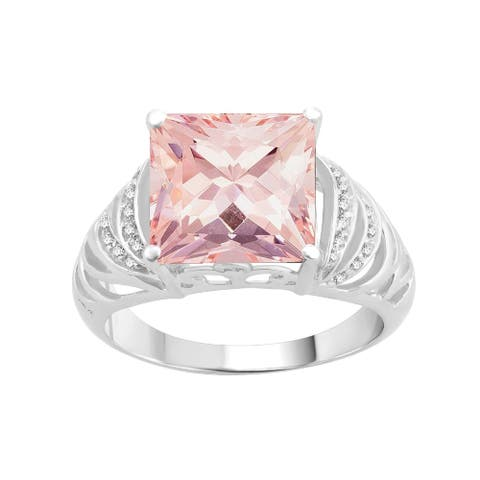 Sterling Silver with Morganite and Natural White Topaz Cocktail Ring