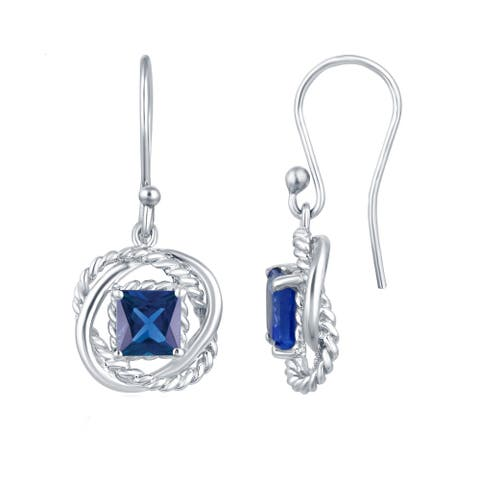 Sterling Silver with Blue Sapphire Twisted Wire Earring