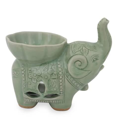 Handmade Time to Relax Celadon Ceramic Oil Warmer (Thailand)