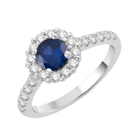 Sterling Silver with Blue Sapphire and Natural White Topaz Halo Ring
