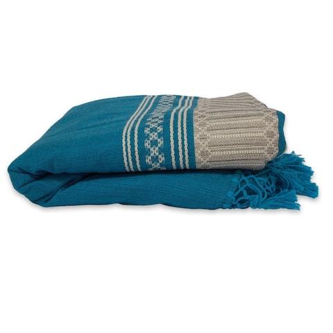 Handmade Zapotec Sky Zapotec Cotton Twin Bedspread (Mexico)