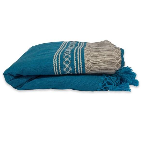 Handmade Zapotec Sky Zapotec Cotton Twin Bedspread (Mexico). Opens flyout.