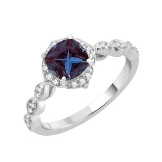 Sterling Silver With Color Changing Alexanrite And Natural White Topaz Halo Ring
